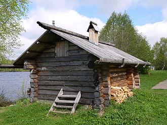 Banya (sauna) - Traditional Northern Russia banya in Mandrogy open air museum.