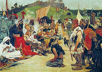 Volga trade route - The Rus trading slaves with the Khazars: Trade in the East Slavic Camp by Sergei Ivanov (1913)