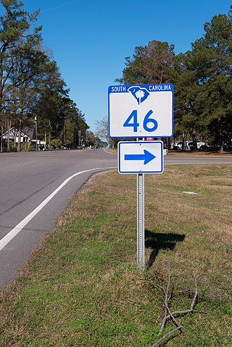 South Carolina Highway 46 - First sign for SC 46 along US321 near Hardeeville.