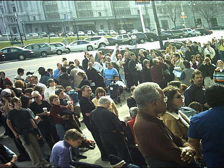 Same-sex couples gather at San Francisco City Hall during Valentine's Day weekend 2004 to apply for marriage licenses. SF-City Hall Line SS-Marriage group.JPG