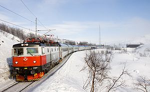 Rail transport -  A RC 6 electric locomotive pulls the SJ express train between Narvik and Malmö in Norway