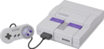 A Super Nintendo Entertainment System console in the American coloring scheme