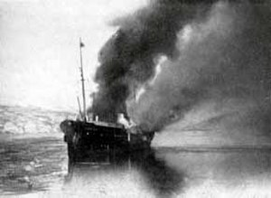 SS Dronning Maud (1925) - Dronning Maud on fire after the German attack