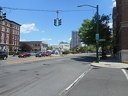 Main Street and Huguenot Street in New Rochelle