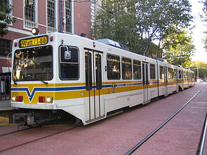 Sacramento RT Light Rail - A Siemens Duewag U2A in downtown Sacramento