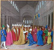 The Coronation of Charlemagne from the Grandes Chroniques de France, illustrated by Jean Fouquet.