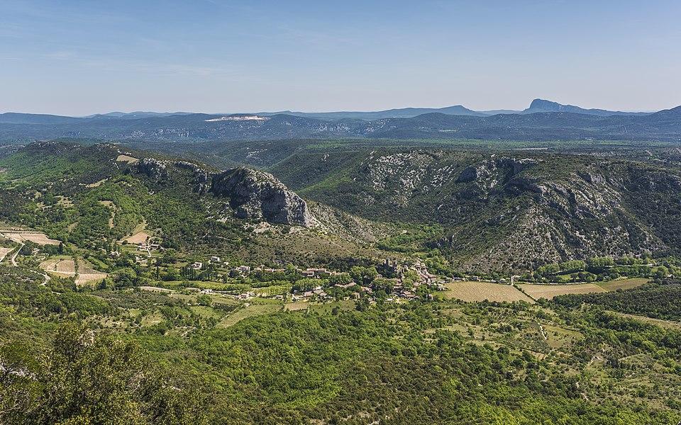 The village of Saint-Jean-de-Buèges and the surrounding valley. Hérault, Occitanie, France