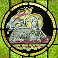 Saint John the Baptist Catholic Church (Dry Ridge, Ohio) - stained glass, Agnus Dei.jpg