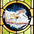 Saint John the Baptist Catholic Church (Dry Ridge, Ohio) - stained glass, crown cross & book.jpg
