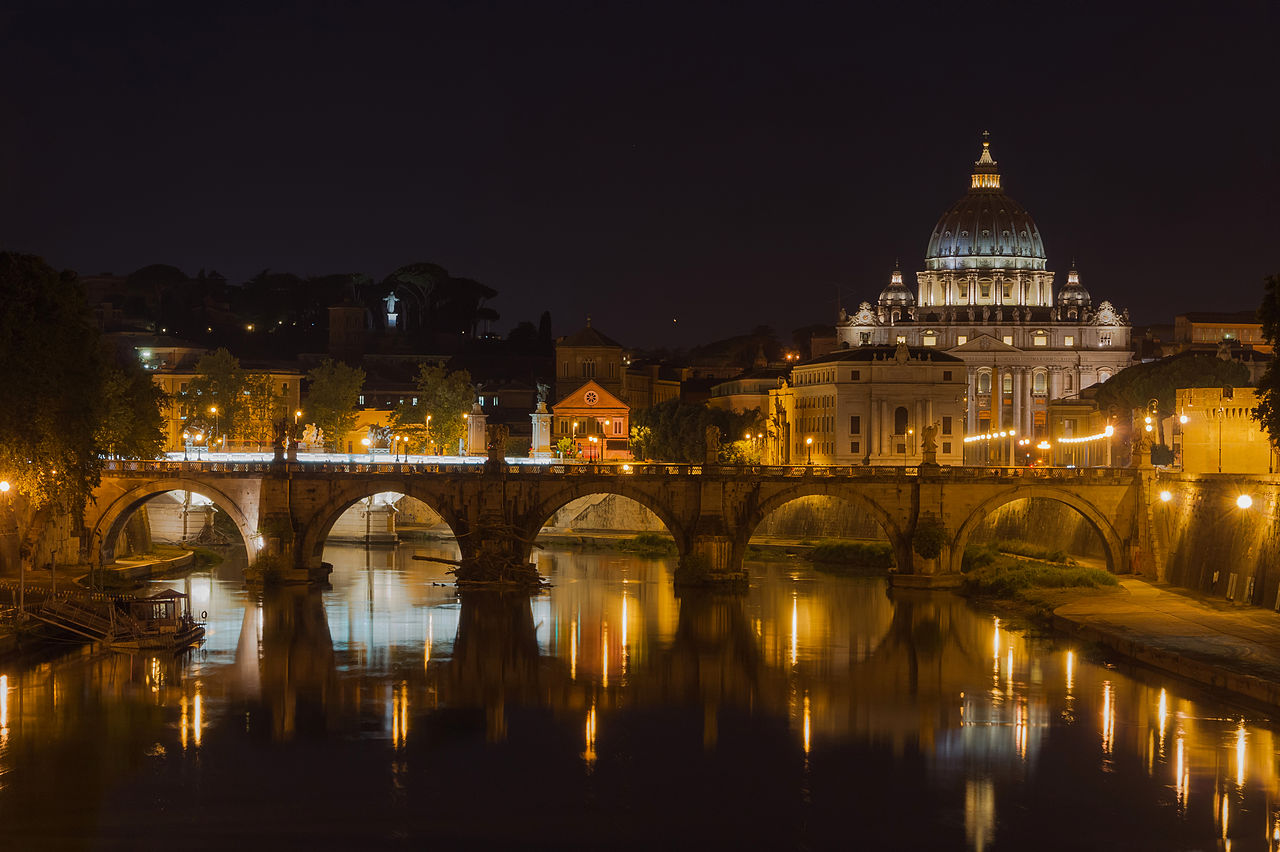 File saint peter 39 s basilica sant 39 angelo bridge by night for Rome in rome