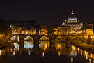 Saint Peter's Basilica, Sant'Angelo bridge, by night, Rome, Italy.jpg