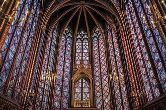 Windows of Sainte-Chapelle (13th century) Sainte Chapelle Interior Stained Glass.jpg