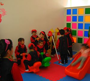 Kindergarten - First day of Iranian new education year, for kindergarten students and elementary school newcomers, in Nishapur