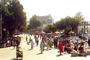 Samarkand - Downtown with Bibi-Khanym Mosque