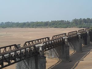 Munneru - Sand dunes formed by Munneru River and old bridge ̠ keesara village of krishna district