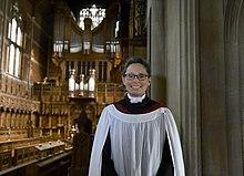 Photo of Sarah MacDonald taken in Selwyn College Chapel in 2019