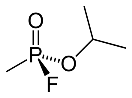 The chemical structure of sarin nerve gas, developed in Germany in 1939 Sarin-2D-skeletal.png
