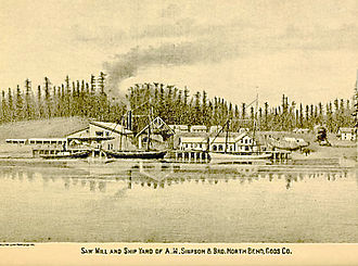 North Bend, Oregon - Saw mill and ship yard, North Bend, 1884 illustration
