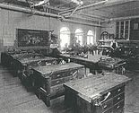 A vocational classroom with workstations