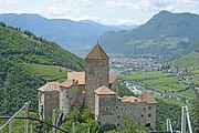 Schloss Karneid with view of the city Bolzano not retouched.jpg