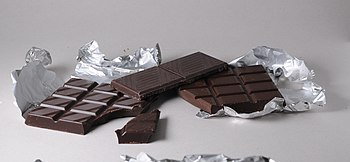 English: Bars of black Swiss Chocolate. From l...