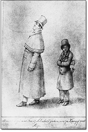 Franz Schubert - Caricature of Johann Michael Vogl and Franz Schubert by Franz von Schober (1825)