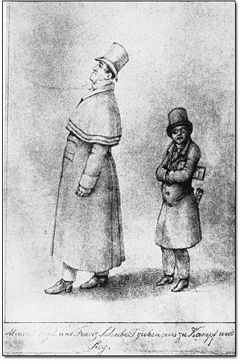 Caricature of Johann Michael Vogl and Franz Schubert by Franz von Schober (1825) SchubertAndVogl.jpg