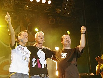 Scooter (band) - Scooter in Kyiv in 2004. From left to right: Jay Frog, H.P. Baxxter, Rick J. Jordan
