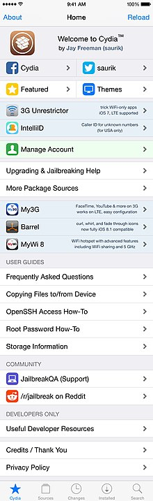 A screenshot of Cydia 1.1.16, running on iOS 11.on an iPod