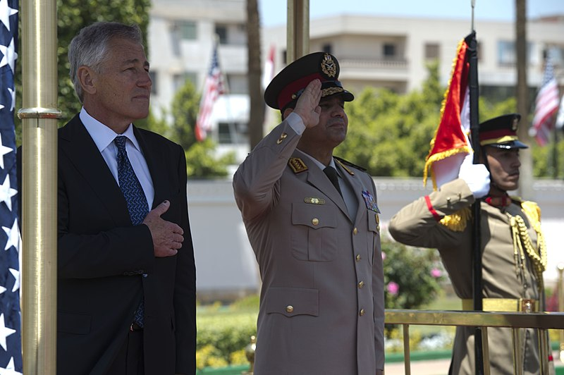 File:Secretary of Defense Chuck Hagel participates in an arrival honors ceremony with Egyptian Minister of Defense, Abdel Fatah Saeed Al Sisy, in Cairo, Egypt, April 24, 2013 (Pic 3).jpg