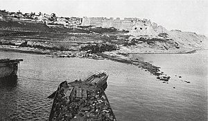 Landing at Cape Helles - Sedd-el-Bahr fort seen from the bow of the SS ''River Clyde'' during the landing at V Beach
