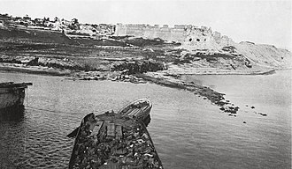V Beach, viewed from the SS River Clyde on 25 April 1915.