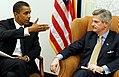 Senator Obama meets with Veterans Affairs Secretary nominee Jim Nicholson on Thursday, Jan. 6, 2005.jpg