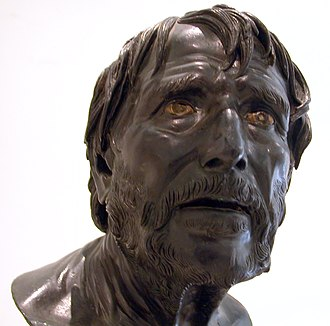 "Seneca the Younger - The ""Pseudo-Seneca"" a Roman bust found at Herculaneum, one of a series of similar sculptures known since the Renaissance, once identified as Seneca. Now commonly identified as Hesiod"