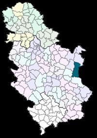 Vị trí của khu tự quản Zaječar trong Serbia