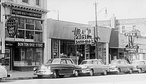 History of Lethbridge - South side of 3rd Avenue South in 1955, Lethbridge