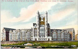 City College of New York - A view of the original entrance to Shepard Hall, the main building of the City College of New York, in the early 1900s, on its new campus in Hamilton Heights, from St. Nicholas Avenue looking up westward to St. Nicholas Terrace