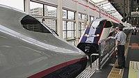 Shinkansen E2 Yamabiko and E3 Tsubasa coupling (36864586260).jpg
