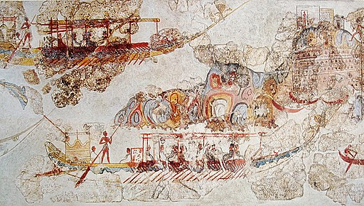 Ship procession fresco, part 4, Akrotiri, Greece