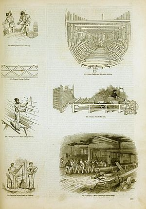 Shipbuilding - Illustration of some shipbuilding methods in England, 1858