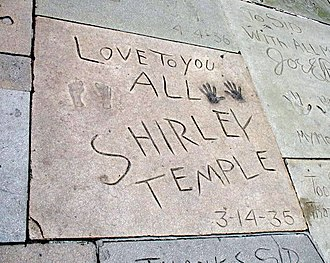Shirley Temple - Temple's handprints and footprints at Grauman's Chinese Theater