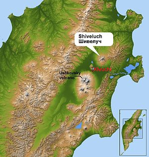 Shiveluch - Terrain map of central Kamchatka Peninsula showing location of Shiveluch.