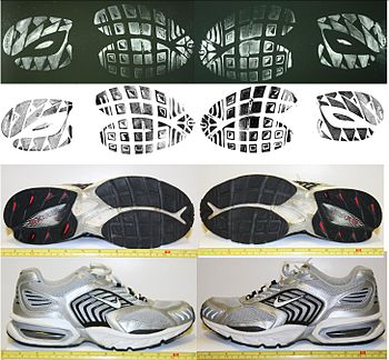 This image shows a series of footwear impressi...