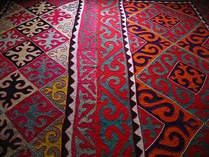 Shyrdak - A shyrdak on the floor of a home in Aksy District, Kyrgyzstan