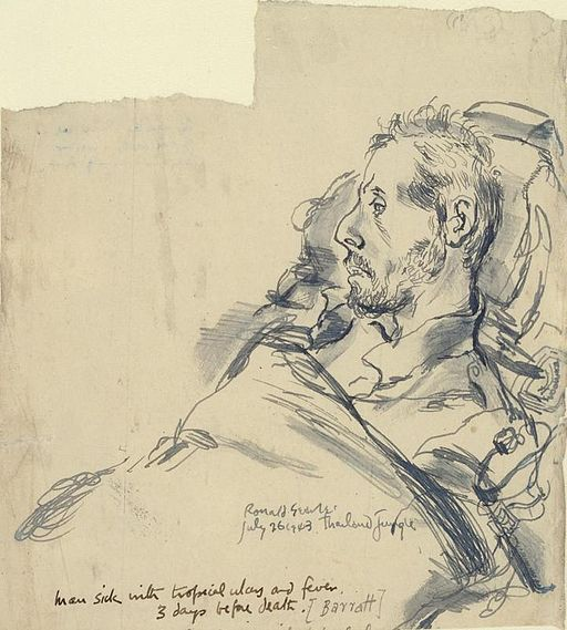 Sick and Dying- Man (barratt) Sick with Tropical Ulcers and Fever, Three Days before Death, Thailand, 26 July 1943 Art.IWMART1574795