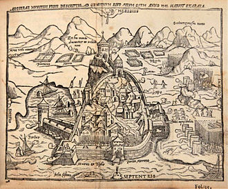 Algiers expedition (1541) - Siege of Algiers in 1541. Engraving of 1555.