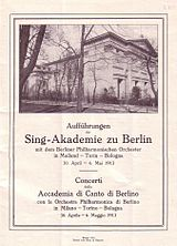 Program book for the concert held in Milan, accompanied by Berlin Philharmonic, 1913 (Source: Wikimedia)