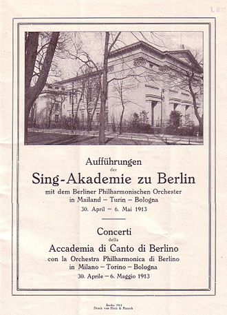Sing-Akademie zu Berlin - Program book for the concert held in Milan, accompanied by Berlin Philharmonic, 1913