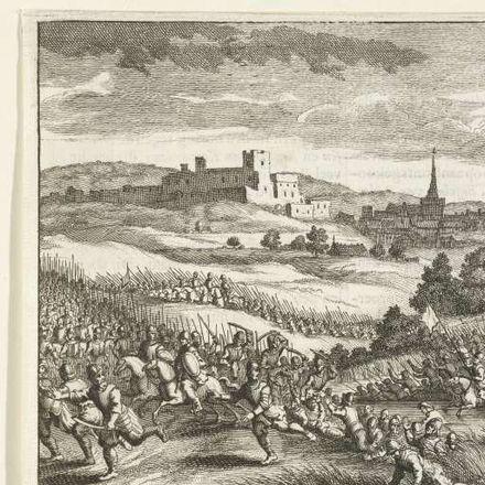 Ets van anonieme hand (1662-1664)In de achtergrond de grote burcht uit de middeleeuwen