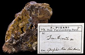 Smithsonite – Autographe de Felix Pisani, Graphic Mine, Nouveau-Mexique, USA
